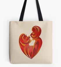 Lovers Kiss And Their Bodies Form A Love Heart Isolated Tote Bag