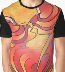 Lovers Kiss And Their Bodies Form A Love Heart Graphic T-Shirt