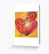 Lovers Kiss And Their Bodies Form A Love Heart Greeting Card