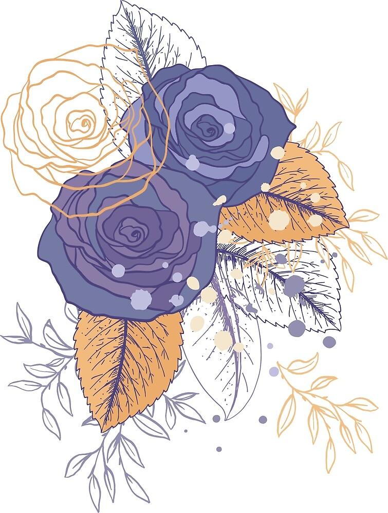 Sketchy Roses Splash by Diane Labombarbe