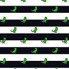 T-Rex Blue and White Stripes Pattern by jezkemp