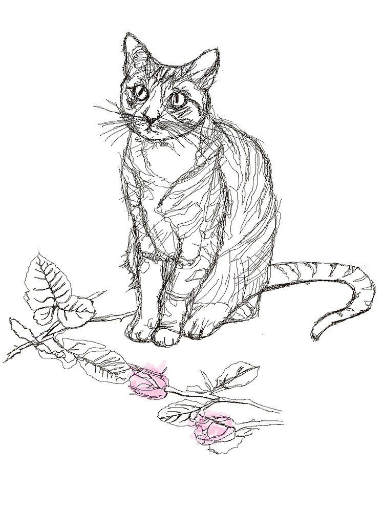 Line drawn cat with roses by LulouA