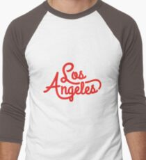 Retro Los Angeles Typography Design Men's Baseball ¾ T-Shirt