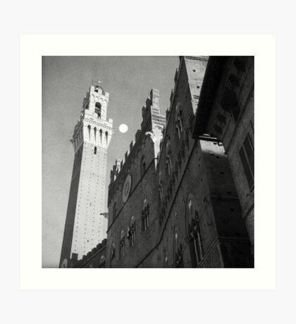 Rising moon, Torre del Mangia, Siena Art Print