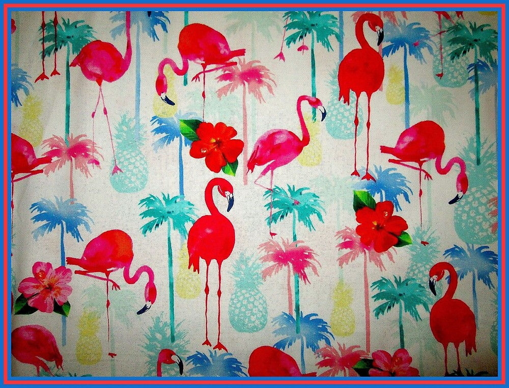 FLAMINGO GARDEN: Abstract Bird and Flower Print by posterbobs