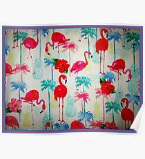 FLAMINGO GARDEN: Abstract Bird and Flower Print Poster