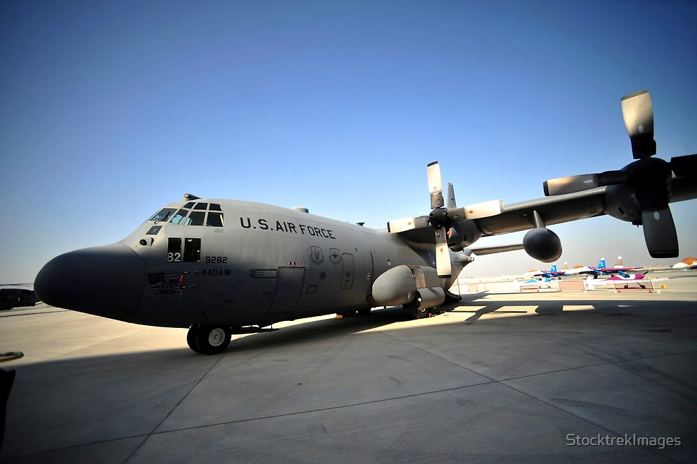 A C-130 Hercules is on display during the 2012 Bahrain International Air Show. by StocktrekImages