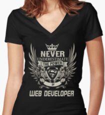 WEB DEVELOPER NEVER UNDERESTIMATE Women's Fitted V-Neck T-Shirt