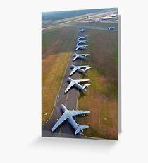 C-5 Galaxies align on the runway. Greeting Card