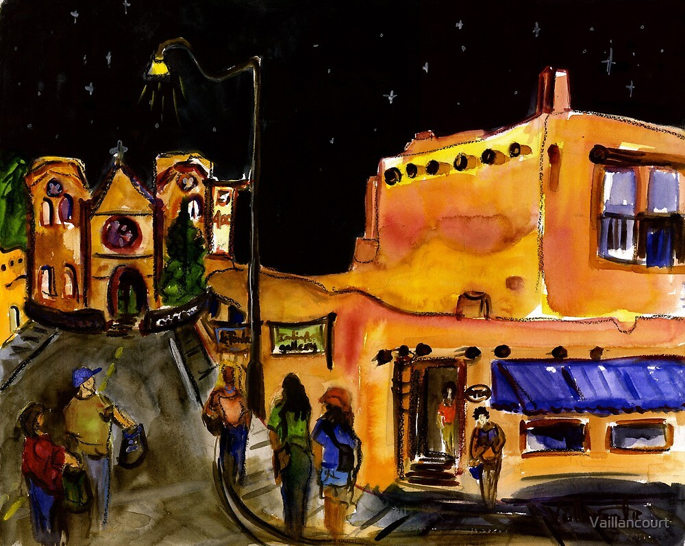 Nighttime on the Plaza, Santa Fe by Vaillancourt