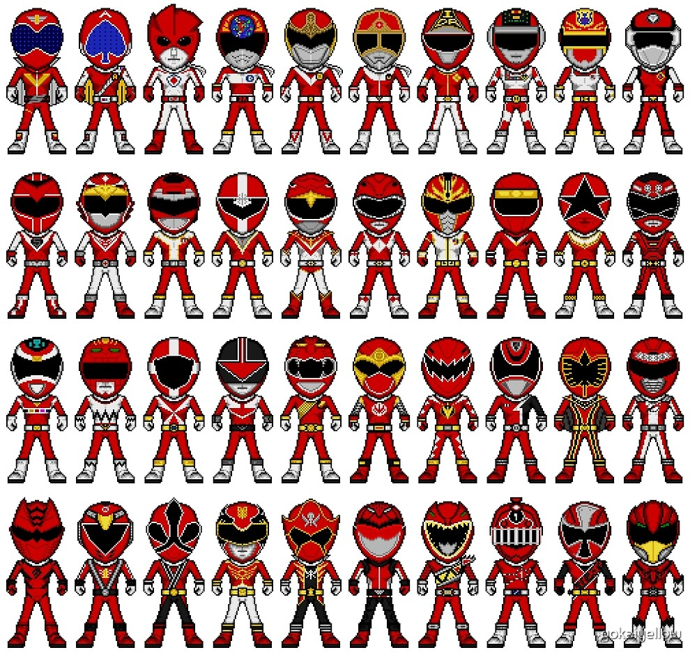 40 Red Micro Heroes by gokaiyellow