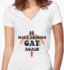 Gay Again - LGBTQ+ World Love Women's Fitted V-Neck T-Shirt
