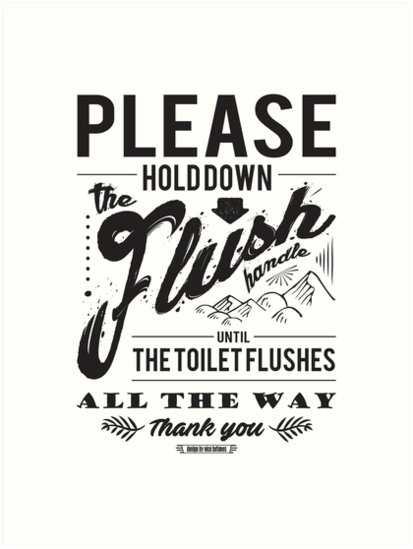 hold the flush handle sign art prints by njtones redbubble