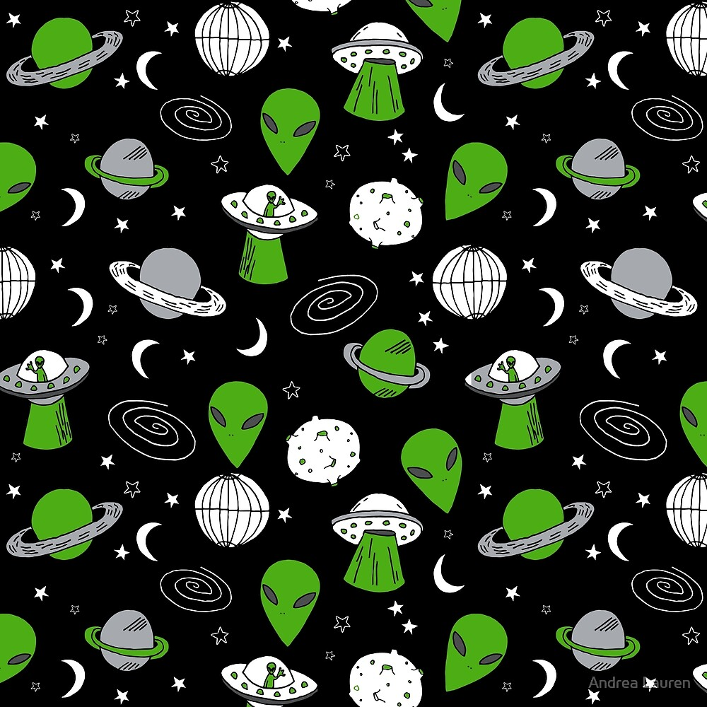 Alien outer space cute aliens french fries rad sodas pattern print mint by Andrea Lauren