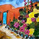 Pink and Yellow Hollyhocks by Vaillancourt