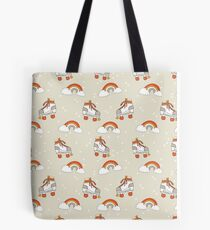 Rollerskates nostalgia pattern print cute 80s rainbows retro style by andrea lauren Tote Bag