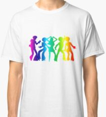 Vintage Retro 1970s Rainbow Disco Dancers Pride Graphic Classic T-Shirt