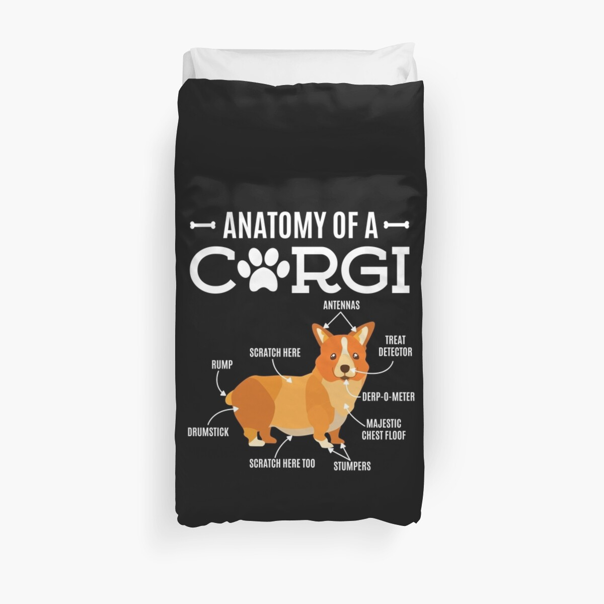 Anatomy Of A Corgi Funny Dog Lover Gift Duvet Covers By