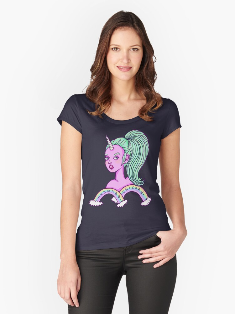 Awkward Unicorn - Pastel - No Background Women's Fitted Scoop T-Shirt Front