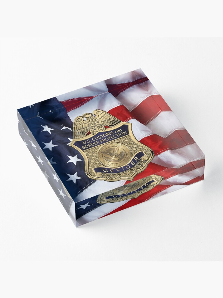 Alternate view of U. S.  Customs and Border Protection -  C B P  Officer Badge over American Flag Acrylic Block