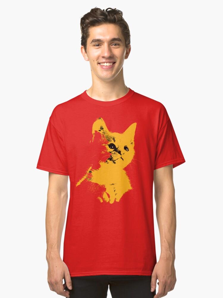 Pop art yellow cat Classic T-Shirt Front