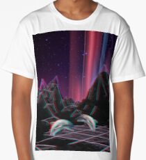 80s Vaporwave Retro Dolphins Anaglyph  Long T-Shirt