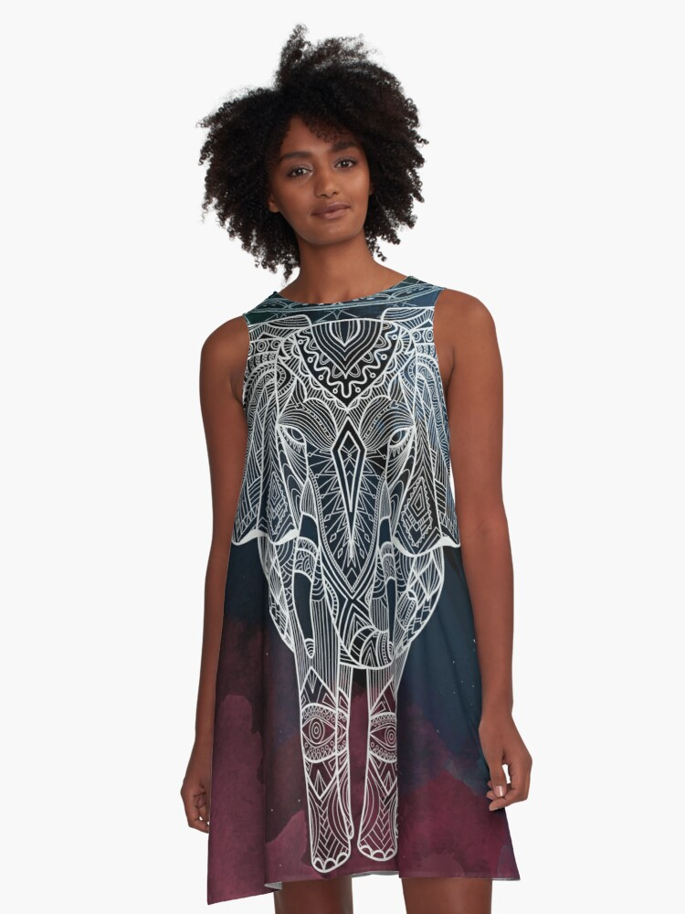 Mesmerising Elephant Night time A-Line Dress Front