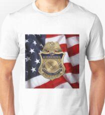 United States Border Patrol - USBP Patrol Agent Badge over American Flag Unisex T-Shirt