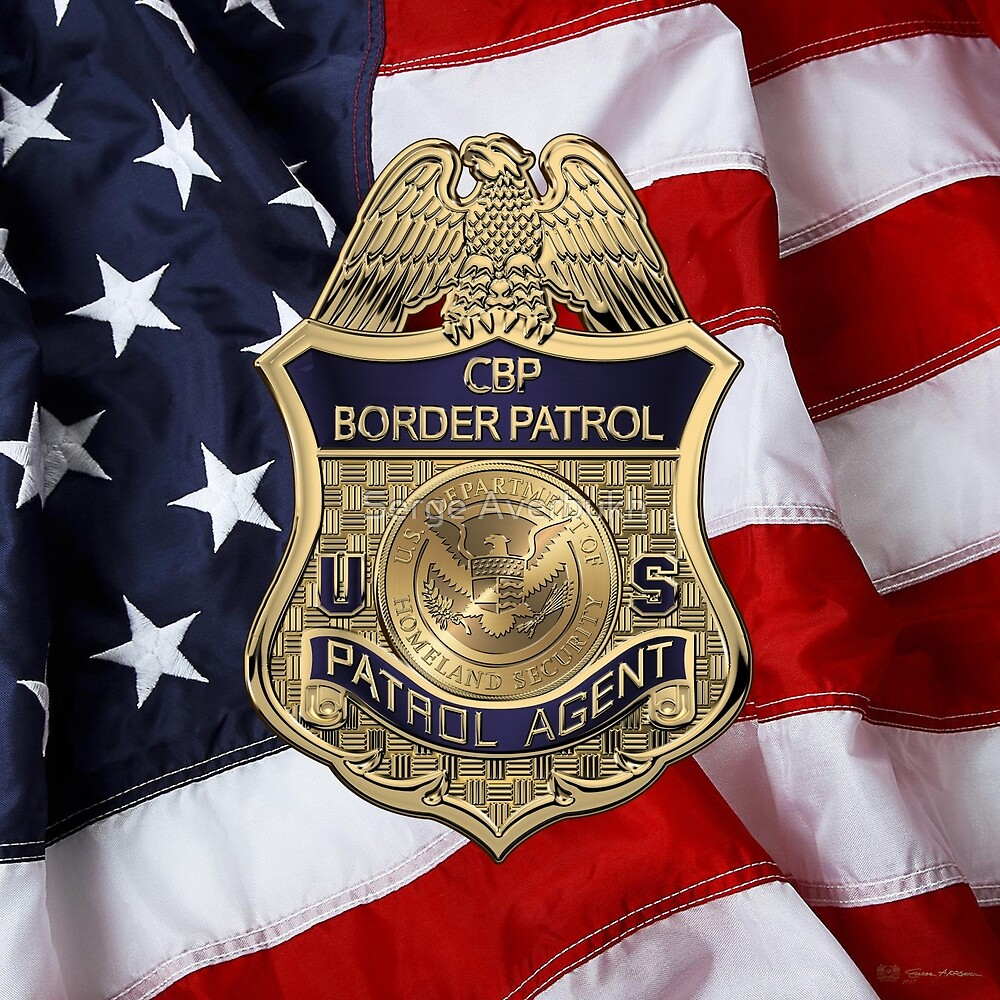 United States Border Patrol - USBP Patrol Agent Badge over American Flag by Serge Averbukh