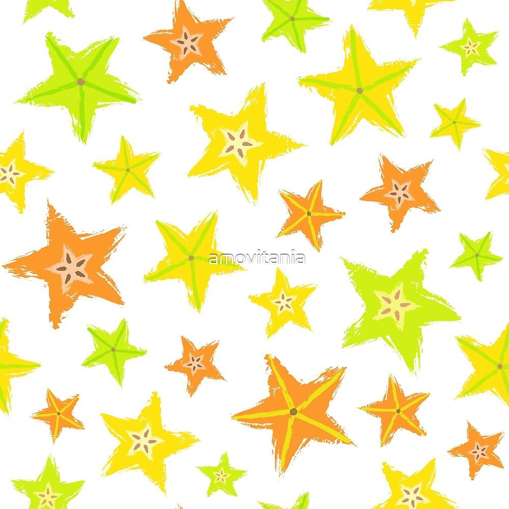 Starfruit Background Painted Pattern by amovitania