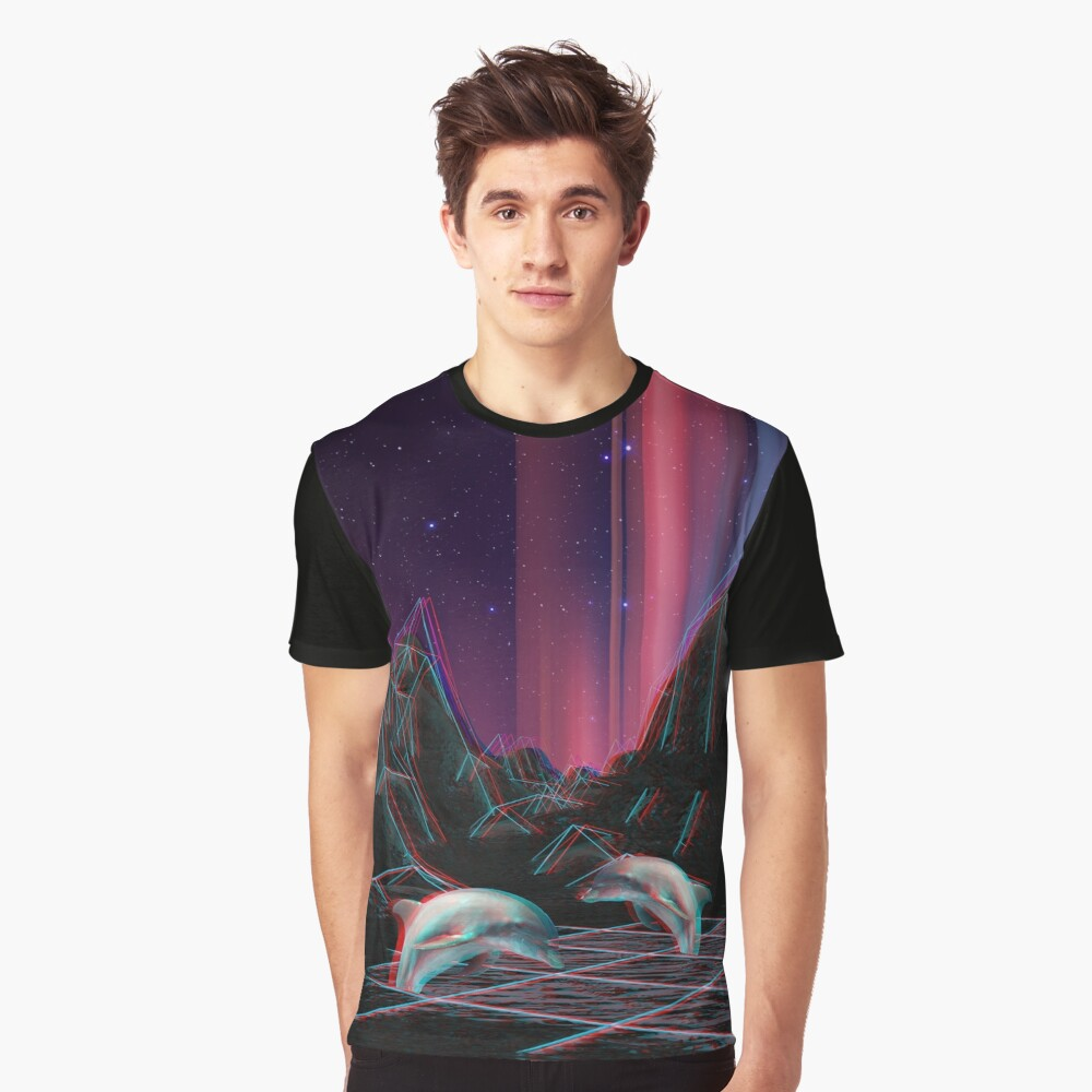 80s Vaporwave Retro Dolphins Anaglyph  Graphic T-Shirt Front