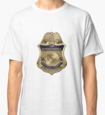 United States Border Patrol - USBP Patrol Agent Badge over White Leather Classic T-Shirt