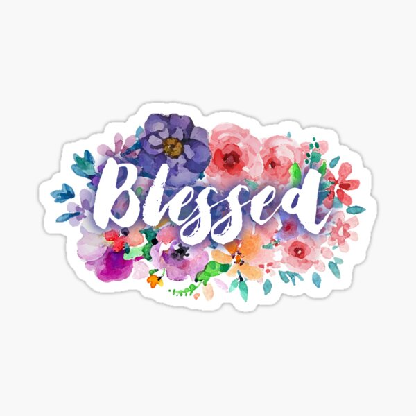 Blessed white floral Sticker