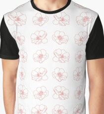 Pink Rose On White. Graphic T-Shirt