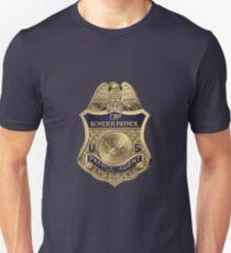 United States Border Patrol - USBP Patrol Agent Badge over Blue Velvet Unisex T-Shirt
