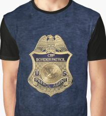 United States Border Patrol - USBP Patrol Agent Badge over Blue Velvet Graphic T-Shirt