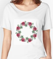 Rose flower wreath. Floral circle border. Watercolor on white Women's Relaxed Fit T-Shirt