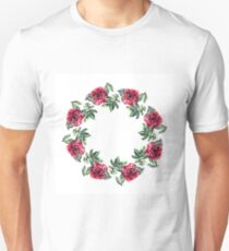 Rose flower wreath. Floral circle border. Watercolor on white Unisex T-Shirt