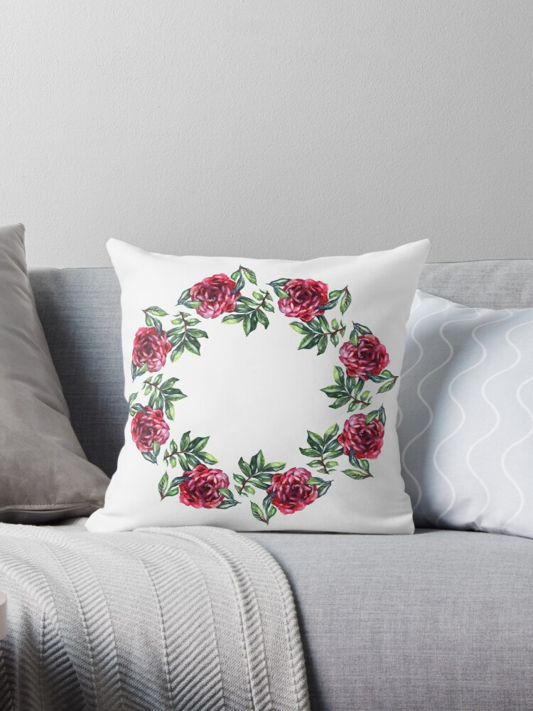 Rose Flower Wreath Floral Circle Border Watercolor On White Throw Pillow By Natalimya Redbubble