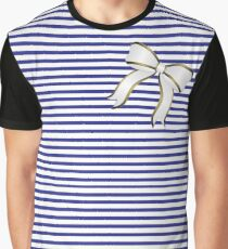 Blue Stripes White Bow Graphic T-Shirt