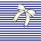 Blue Stripes White Bow by Catherine Hamilton-Veal  ©