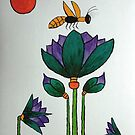 Lotus flowers with Bee by George Hunter