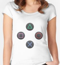 Playstation Buttons Women's Fitted Scoop T-Shirt