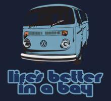 Volkswagen Kombi Tee shirt - Life's Better in a Bay -Blue