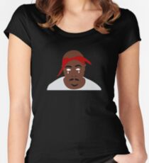 Tupac Illustration Women's Fitted Scoop T-Shirt