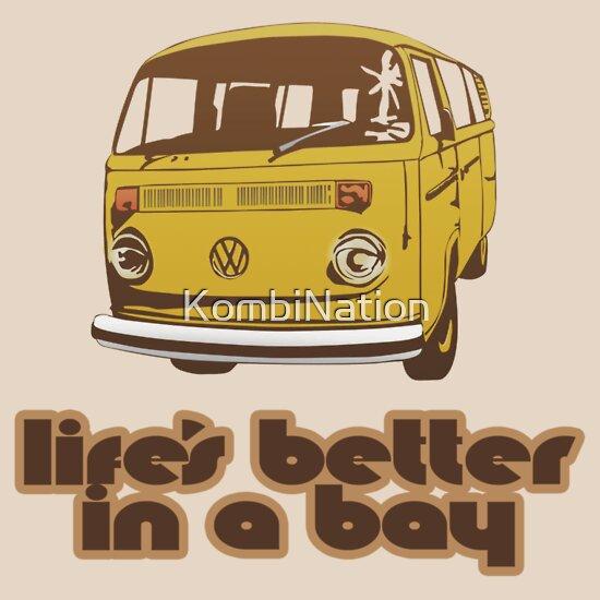 TShirtGifter presents: Volkswagen Kombi Tee shirt - Life's Better in a Bay - Yellow