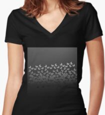 Butterfly Horde ;) Gray on black insects pattern Women's Fitted V-Neck T-Shirt