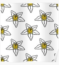 flower of vanilla seamless doodle pattern Poster