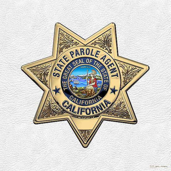 California State Parole Agent Badge Over White Leather Posters By