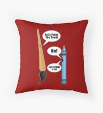 Lets Paint The Town! - Red Throw Pillow